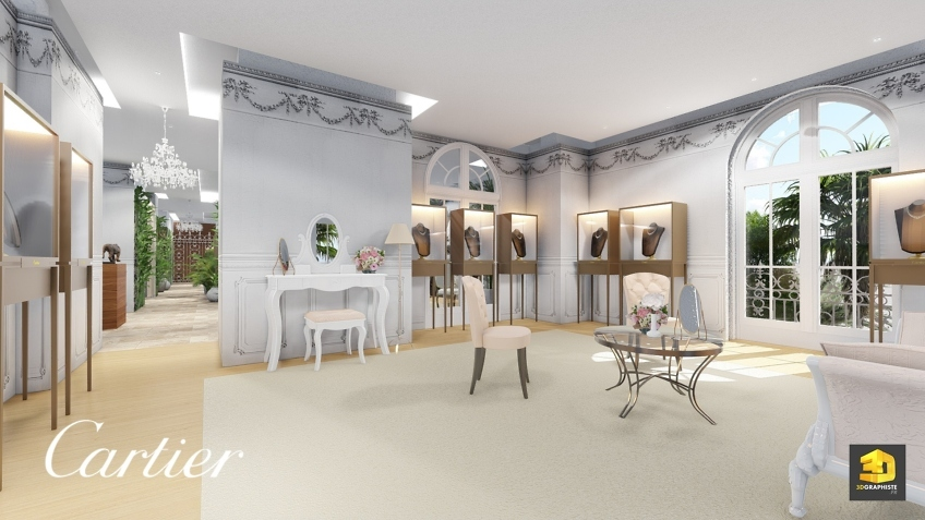 design intérieur - salon privé femmes Cartier