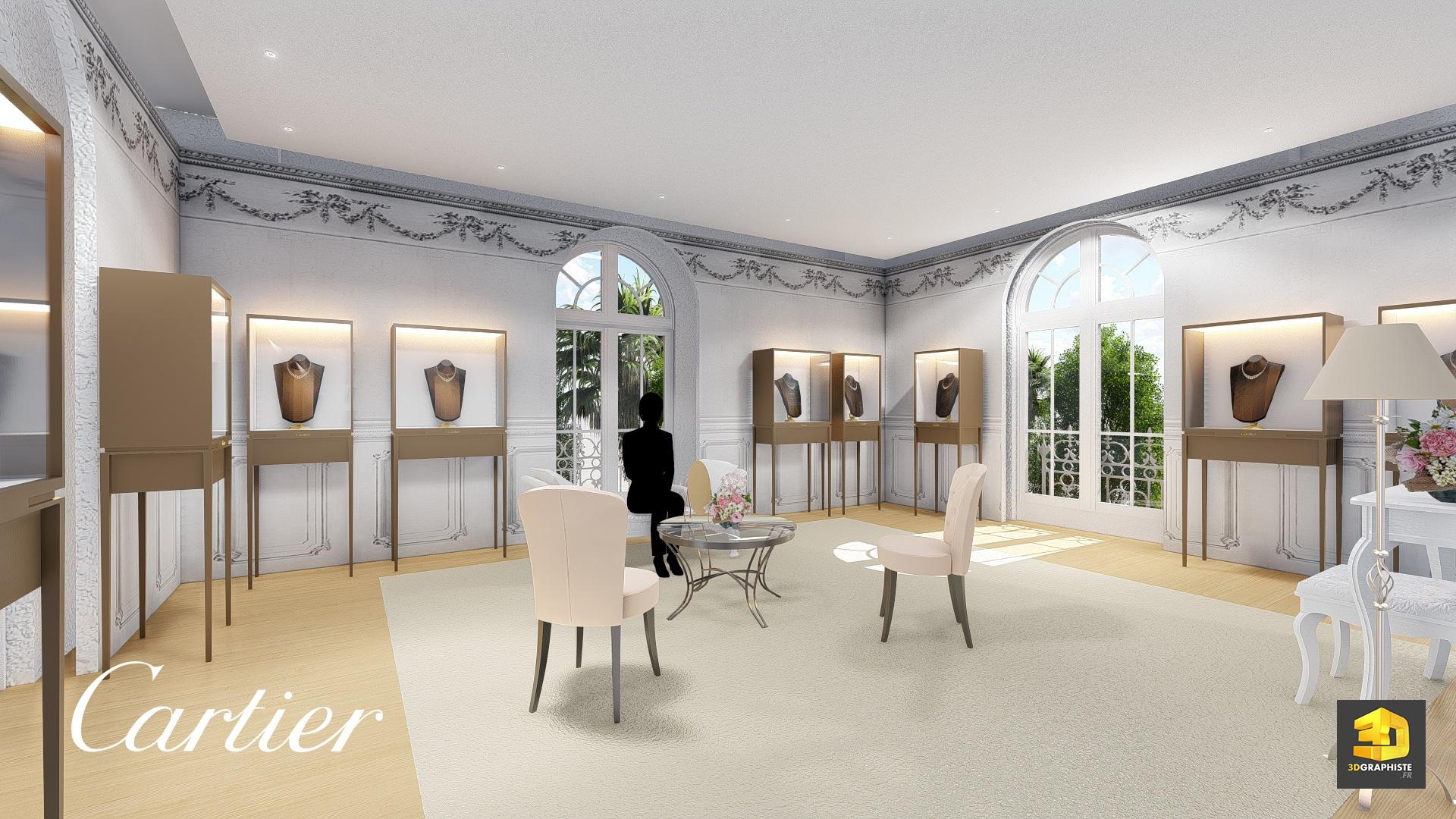 Design D Interieur Showroom Cartier Rough 3d 3dgraphiste Fr