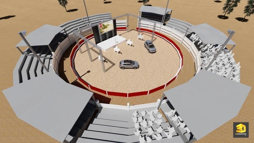 illustration 3d rough événementiel lancement voitures Nissan