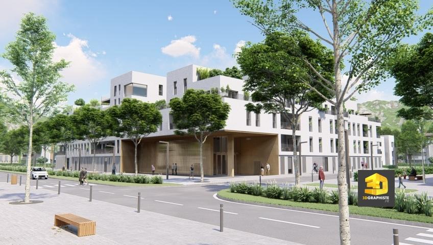 perpsective 3d extérieure résidence seniors Chambéry