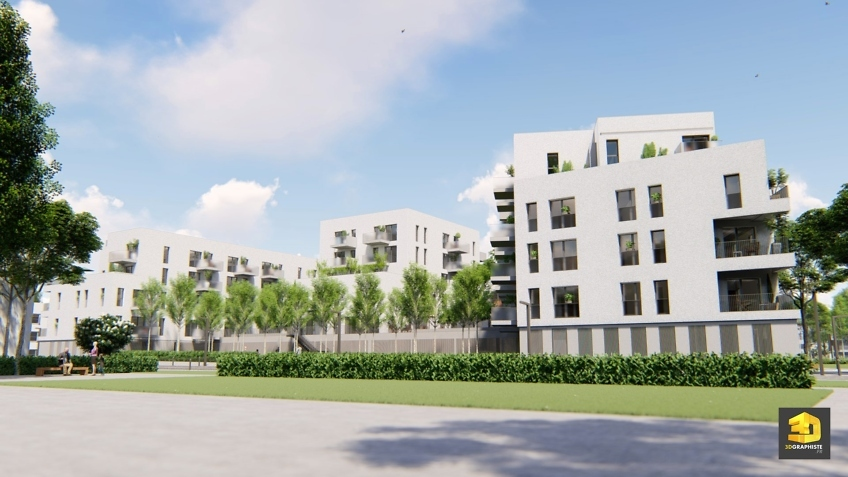 perpsective 3d immeuble residence seniors Chambéry