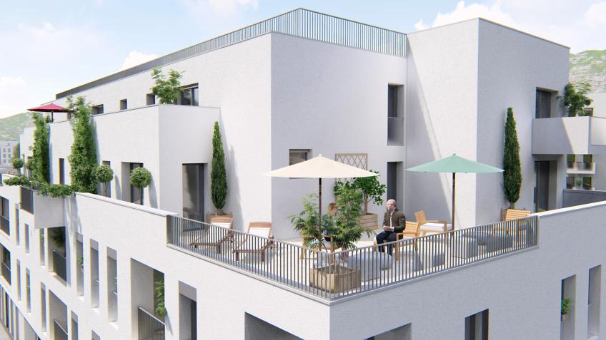 perspective 3d terrasse résidence seniors Chambéry