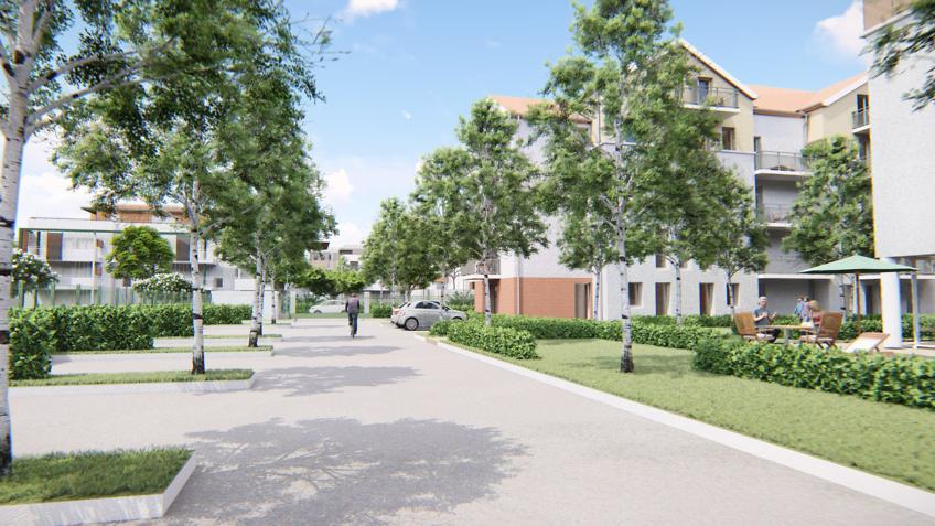 perspective 3d résidence étudiante - jardins Moissy