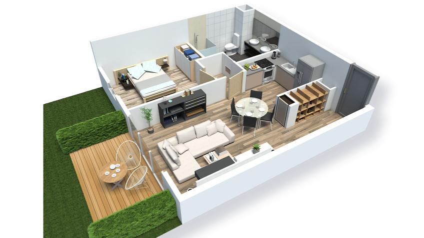 axonometrie 3d appartement t3 - résidence saint-quay