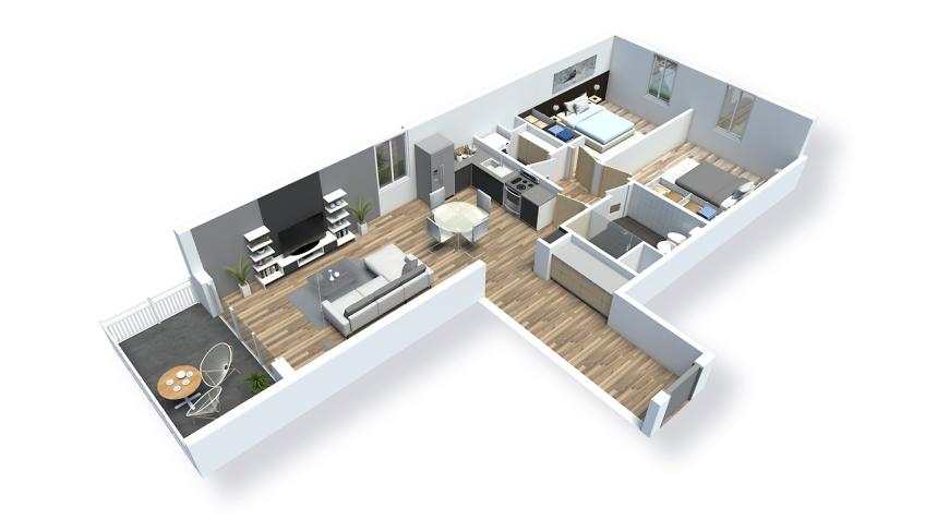 plan d'un appartement meublé en 3d - saint-quay t3
