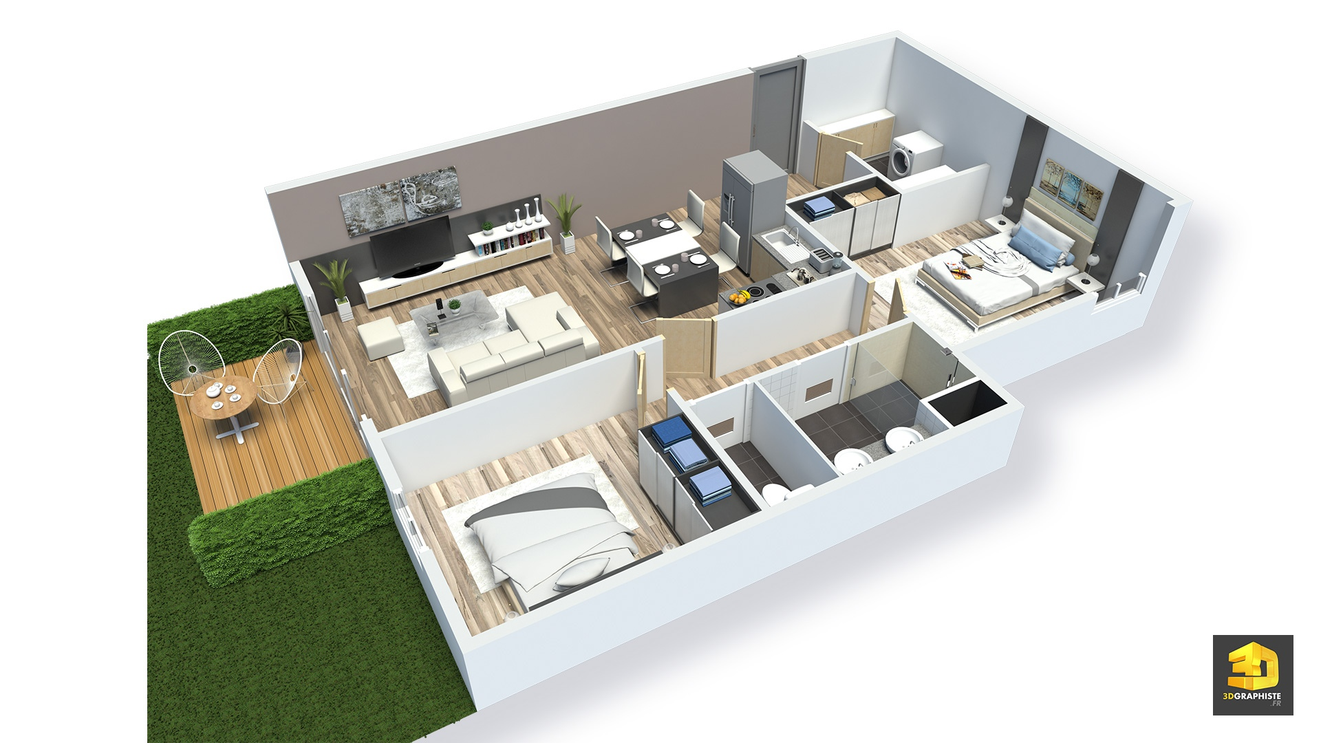 Plans meubl s d 39 appartements en 3d r sidence saint quay for Vente de meuble