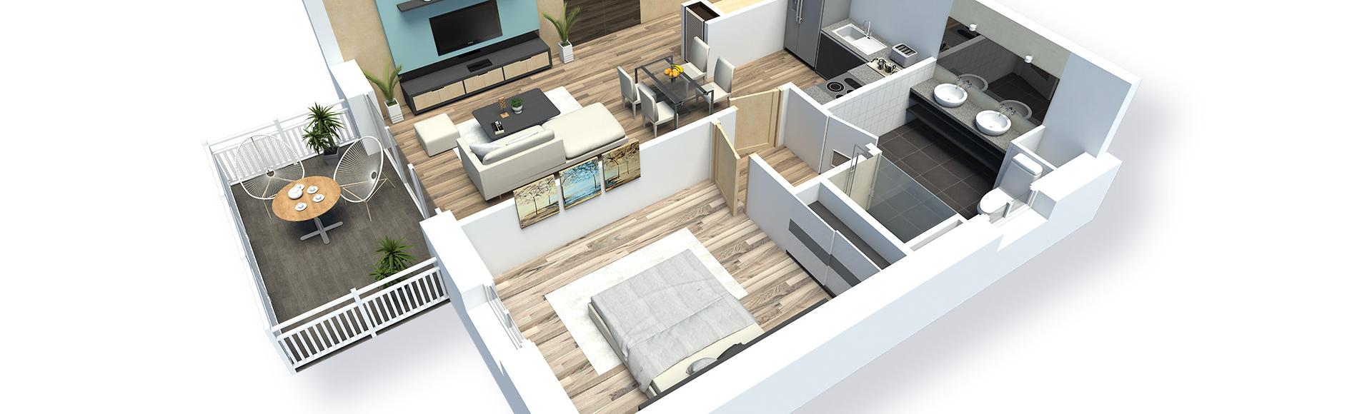 plan meublé appartement en 3d - saint-quay t2