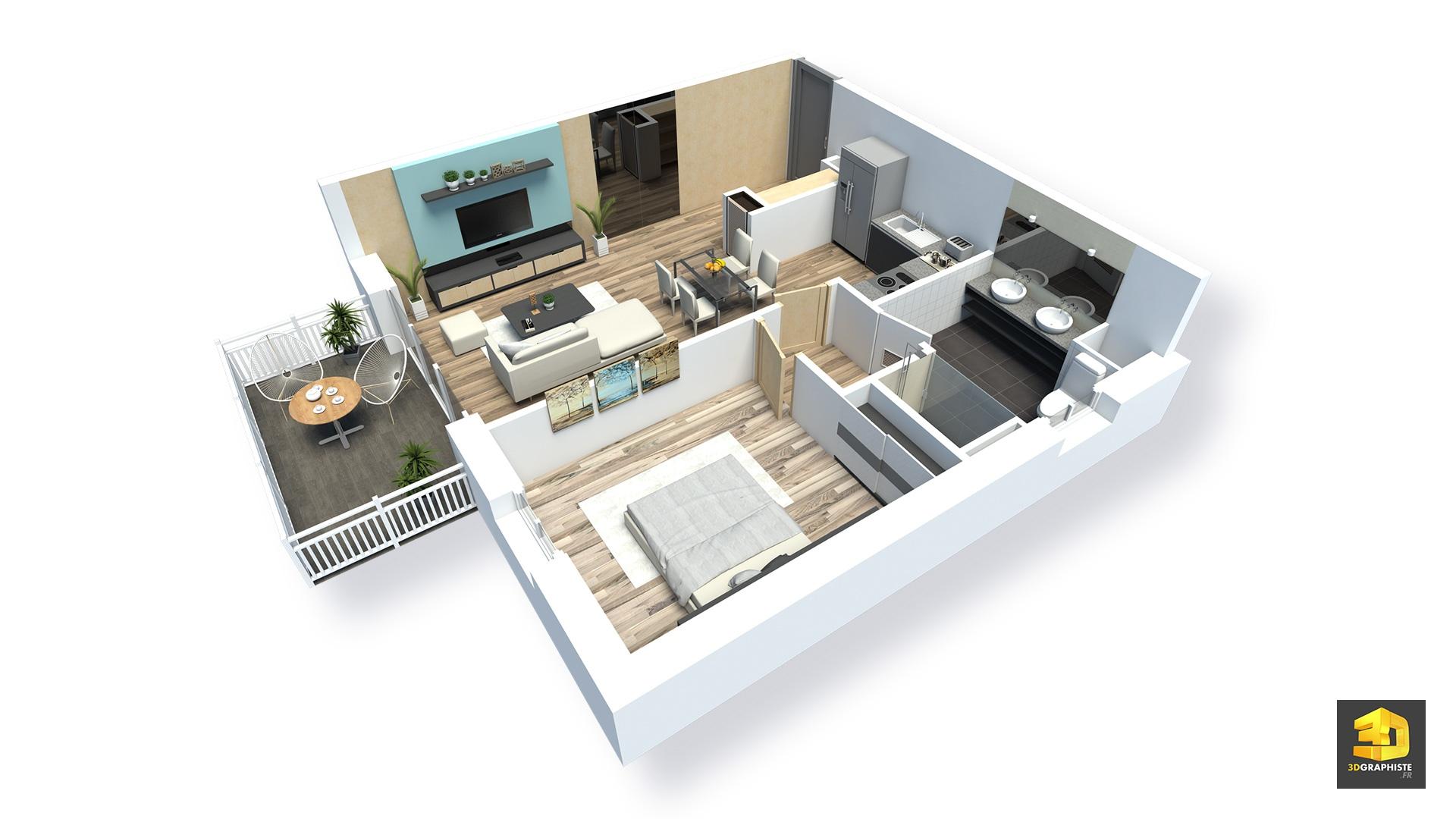 Plans Meubles D Appartements En 3d Residence Saint Quay Portrieux 3dgraphiste Fr