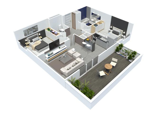 axonométrie appartement t3 - résidence point d'orgue