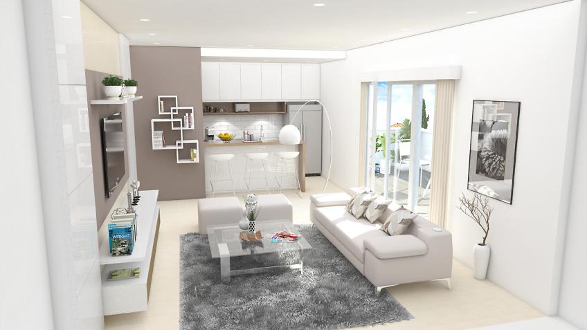 perspective 3d intérieure - appartement séjour - residence point d'orgue