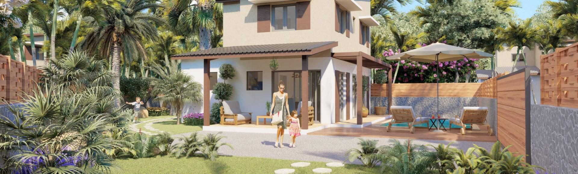 perspective 3d extérieure - immobilier - lotissement les palmes