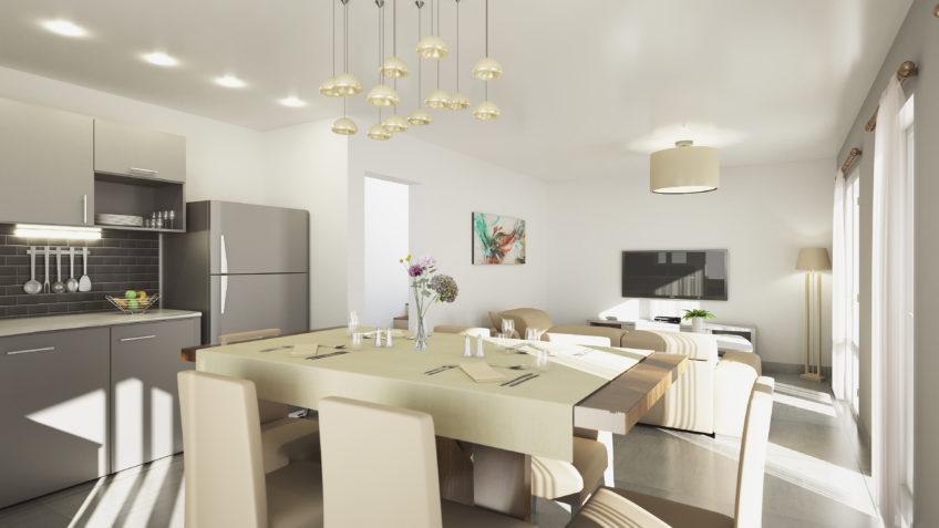 perspective 3d intérieure - immobilier - séjour cuisine - lotissement-les-palmes