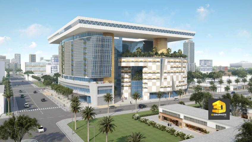 perspective 3d - centre commercial à Abidjan