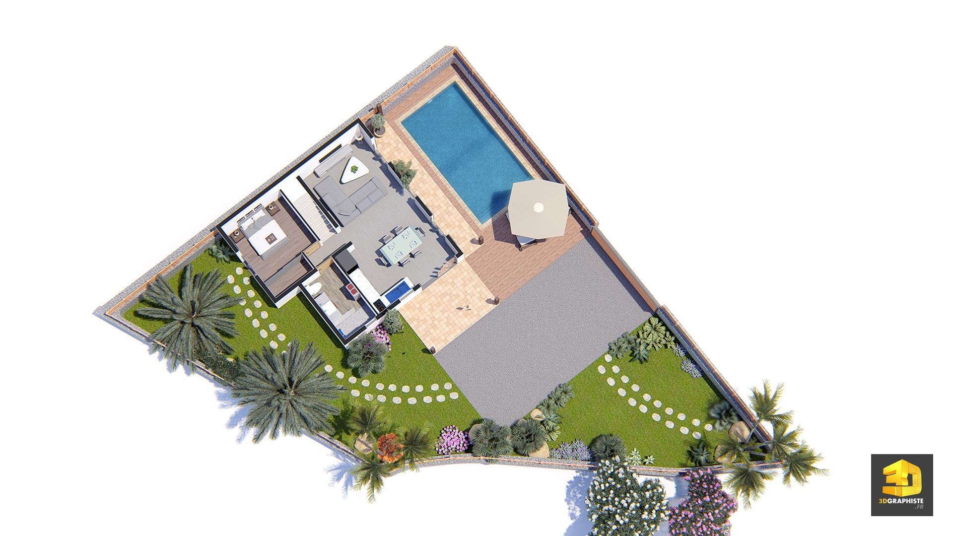 perspectives 3d pour promotion immobili re lotissement les palmes 3dgraphiste fr. Black Bedroom Furniture Sets. Home Design Ideas