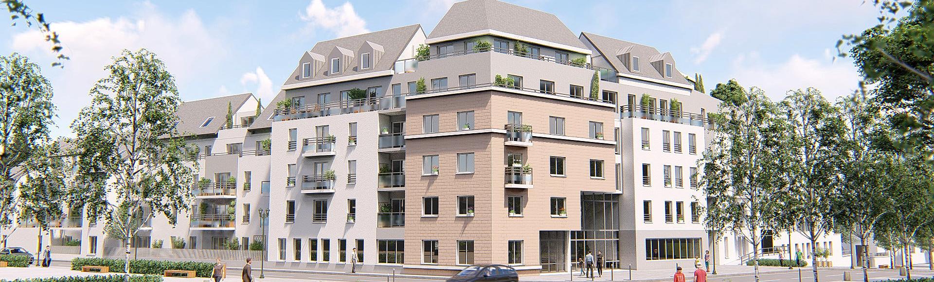 perspective 3d immobilier - résidence seniors Orléans