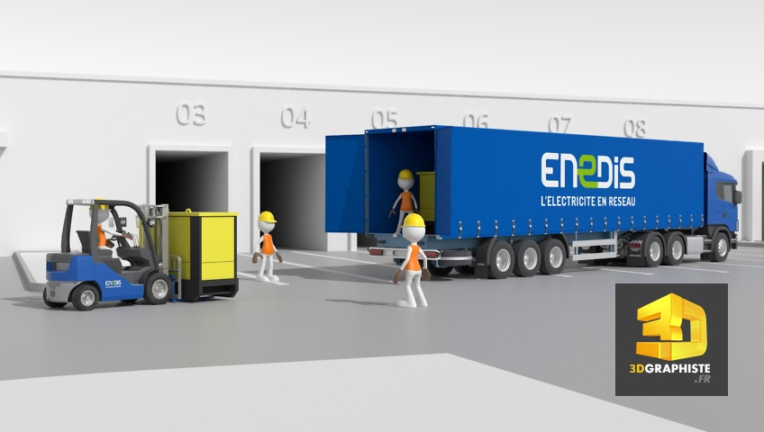 site de stockage enedis - illustration technique - cartoon