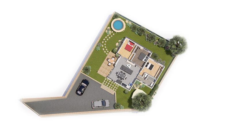 axonométrie - plan de vente 3d - villa Gabriel - plein pied