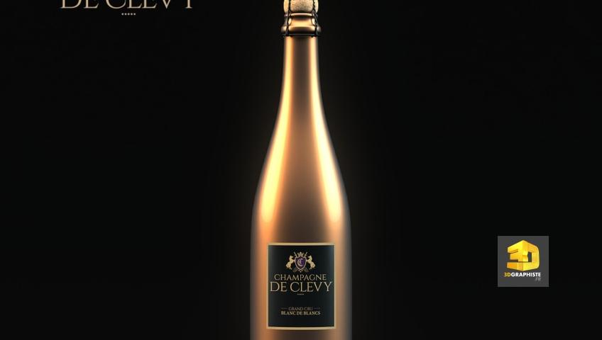 bouteille de champagne en infographie 3D