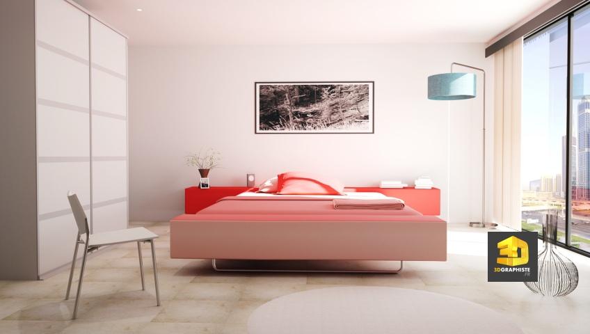 chambre d'hôtel à Paris - perspective 3D