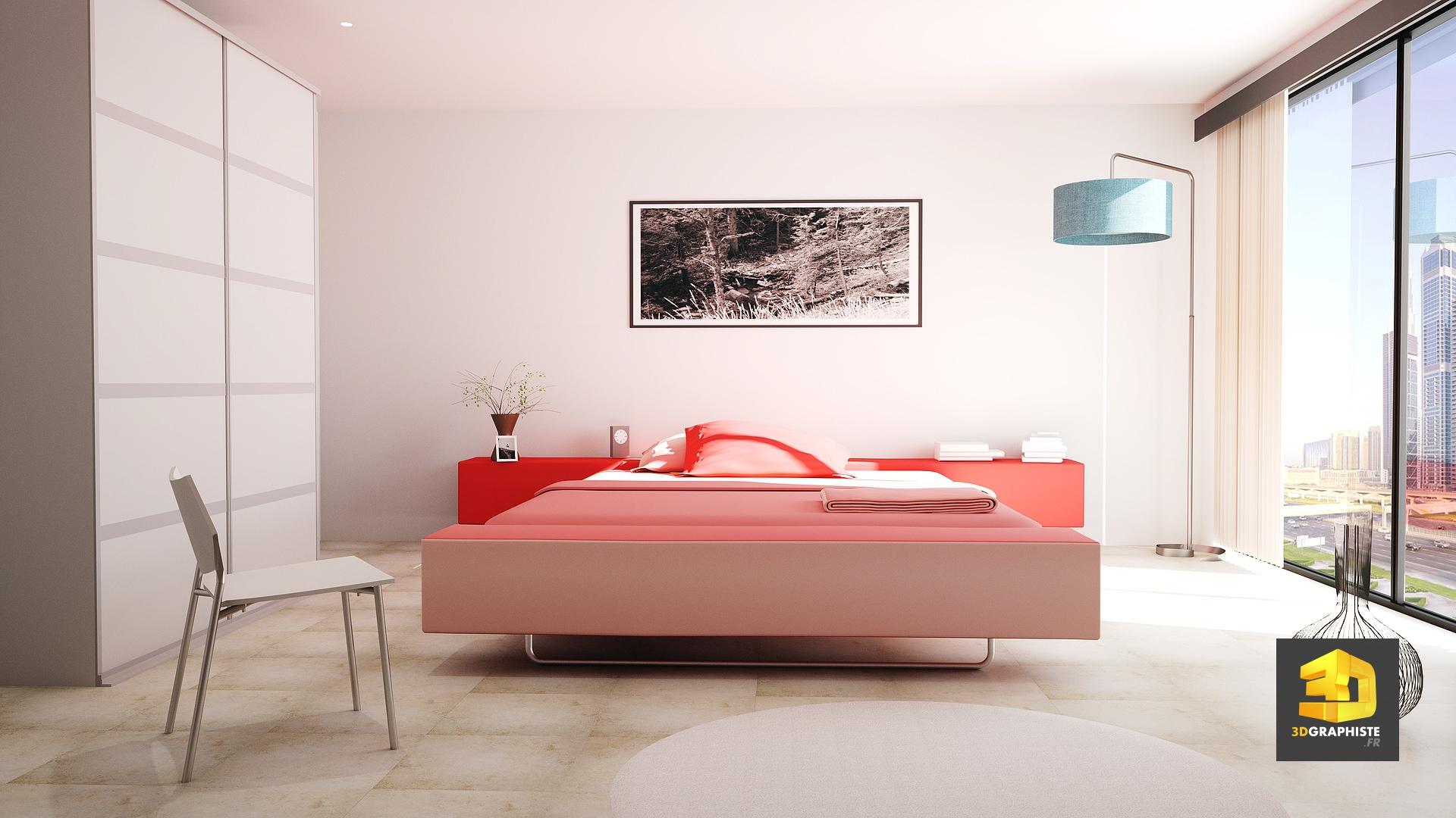 Chambre Du0027hôtel à Paris   Perspective 3D