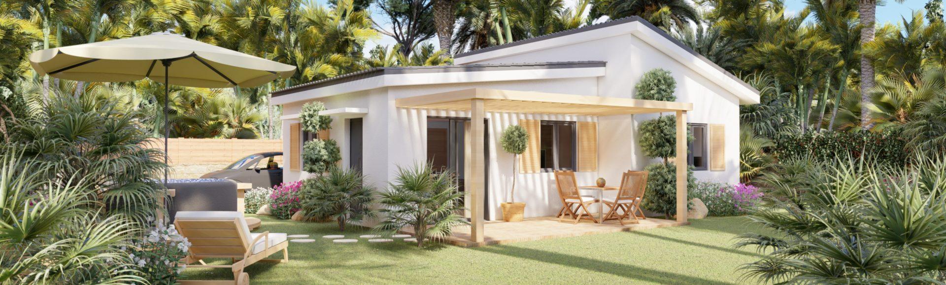 perspective 3d immobilier - villa à La réunion - résidence les palmes