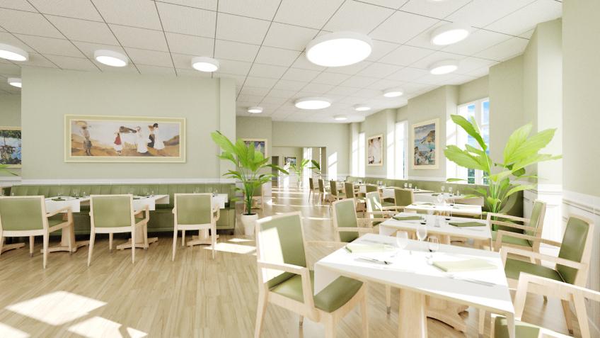 perspective 3d intérieur - EHPAD - restaurant cantine