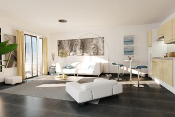 perspective 3d séjour cuisine - résidence roquette