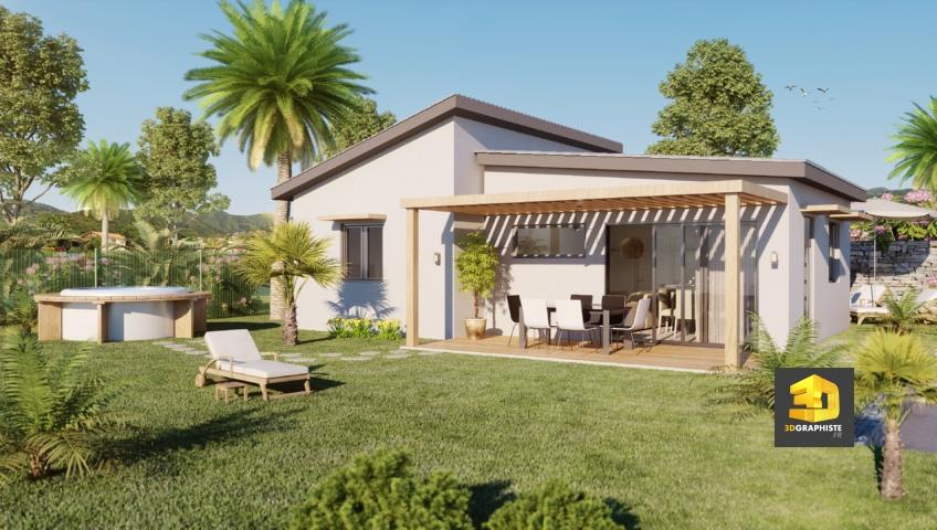 perspective 3D villa - architecture - freelance 3d