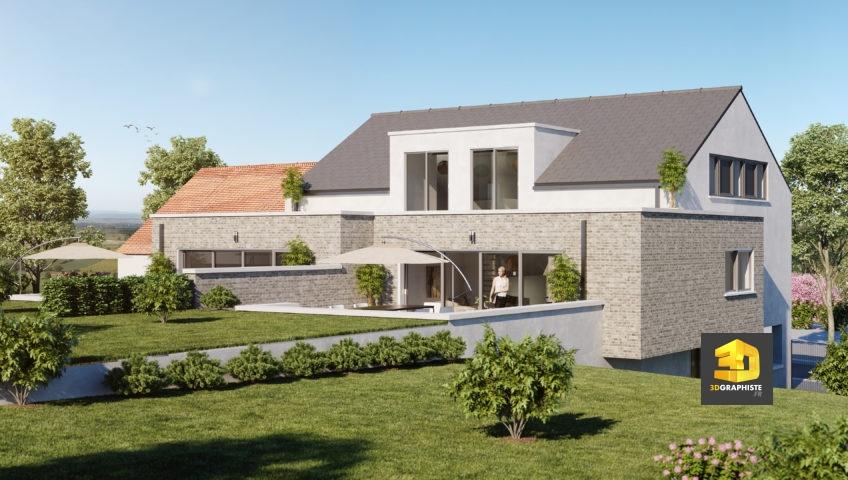 1 perspective extérieure d'une villa en Belgique - Infographiste 3D architecture et immobilier freelance Belgique