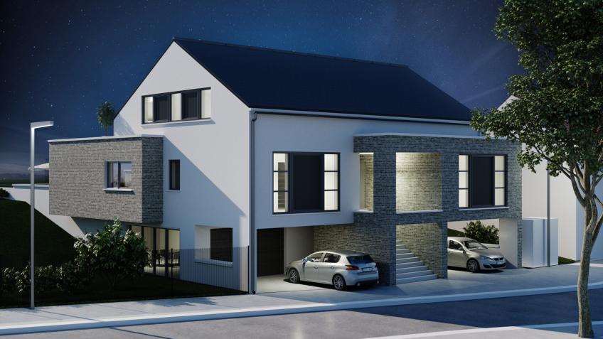 infographiste 3d immobilier Belgique - perspective maison nuit