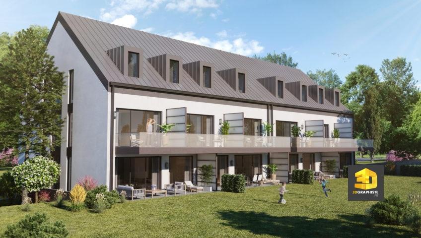 perspective 3d extérieure - immeuble au Luxembourg