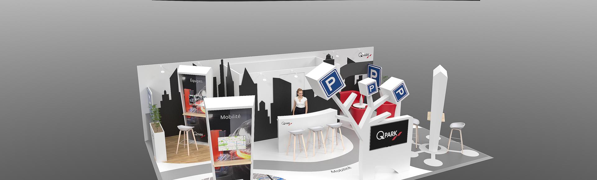 designer freelance stand évènementiel Qpark