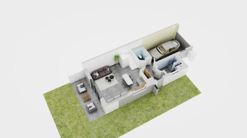 freelance 3d architecture grenoble - axonometrie maison