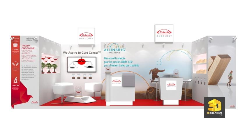 perspective 3d stand médical - laboratoire pharmaceutique Takeda