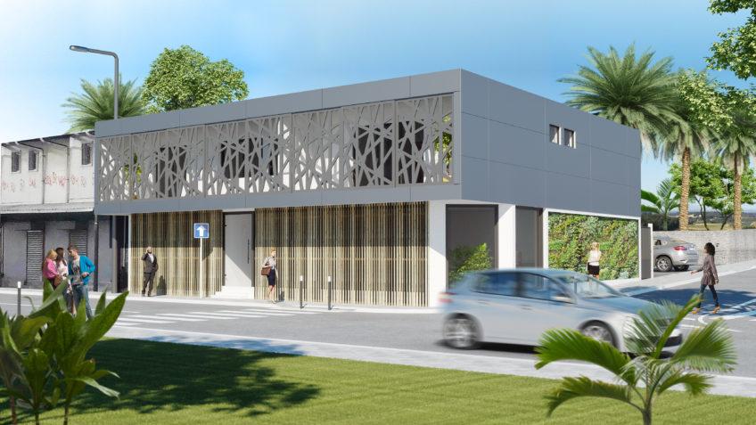 perspective 3D batiment commercial Nouméa Nouvelle-Calédonie