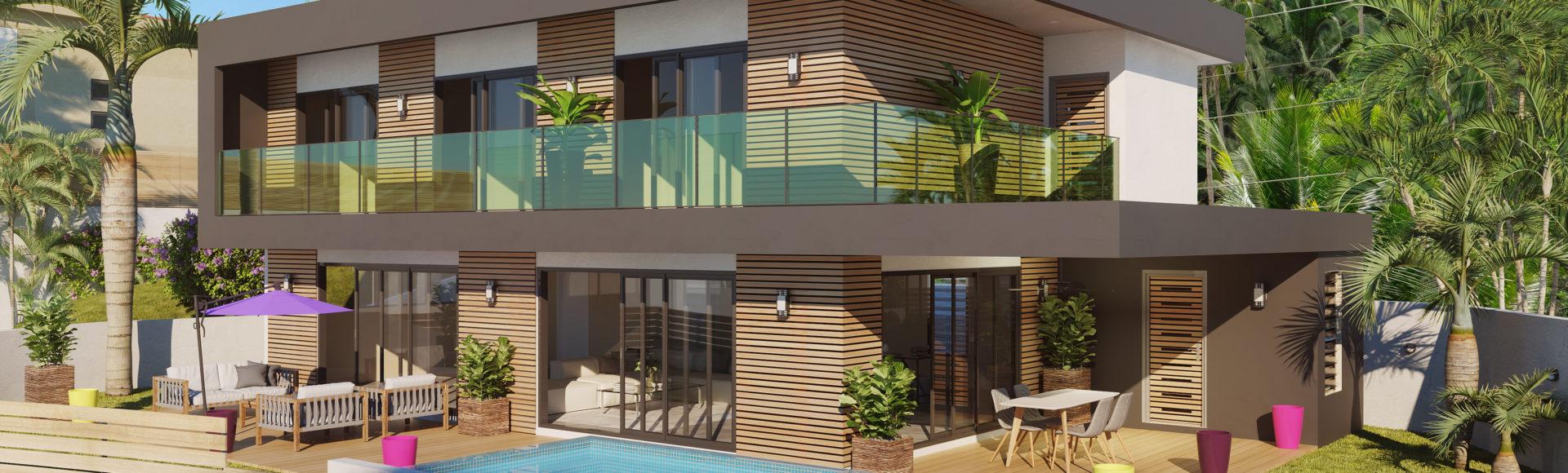 perspective 3D immobilière - villa Nouvelle-Calédonie Nouméa freelance