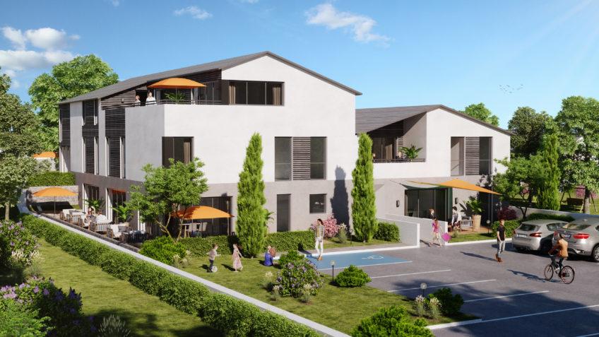 perspective 3D logements collectifs Craponne - infographiste 3D Lyon freelance
