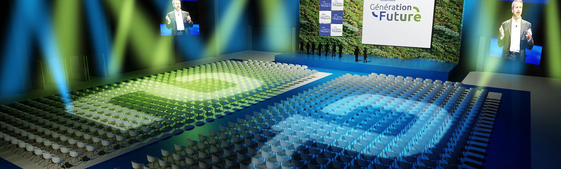 scénographie événementielle 3D - plénière Enedis - freelance