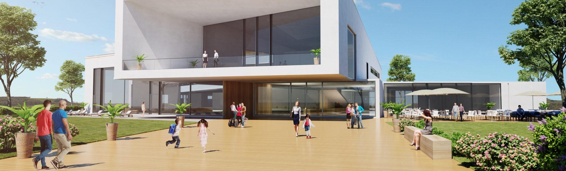 visuel 3D d'une piscine pour un courcours d'architecture