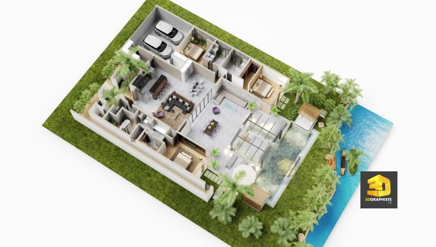 axonométrie - plan 3d villa de luxe