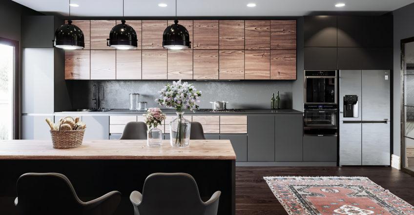 illustration 3d cuisine salle à manger - immobilier