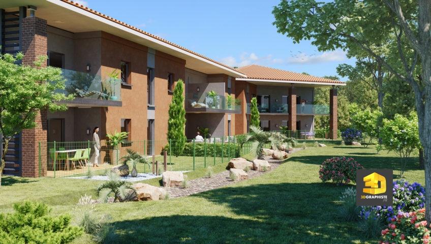 rendu 3d résidence Toulouse