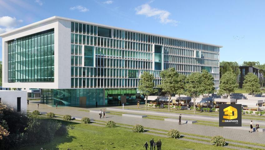 perspective 3d immeuble de bureaux